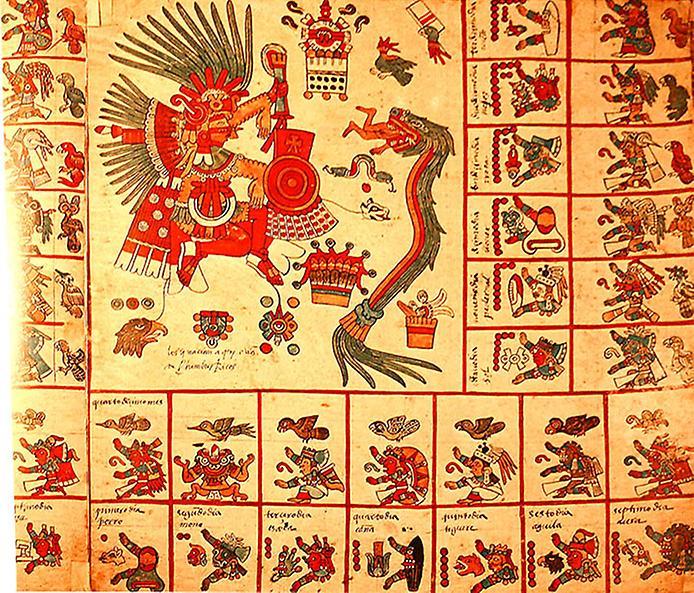 Стародавній індійський (ацтекський) Календар - оригінальний Старовинний рукопис Borbonicus 1507.