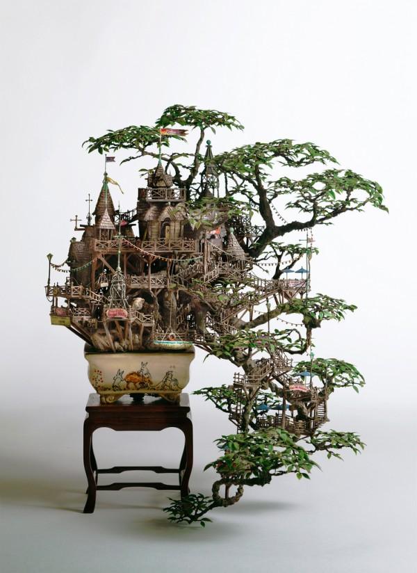 Крихітні декоративні будиночки на деревах бонсай від Таканорі Айба (7)