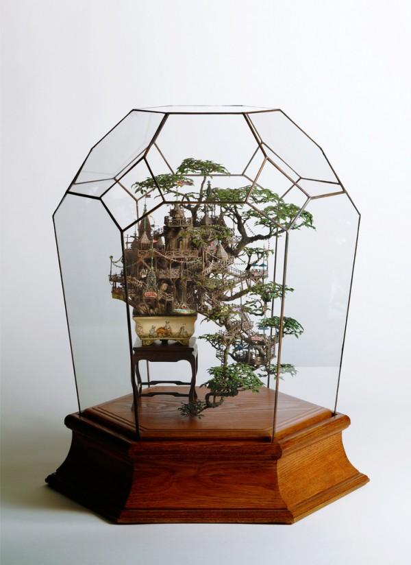 Крихітні декоративні будиночки на деревах бонсай від Таканорі Айба (2)