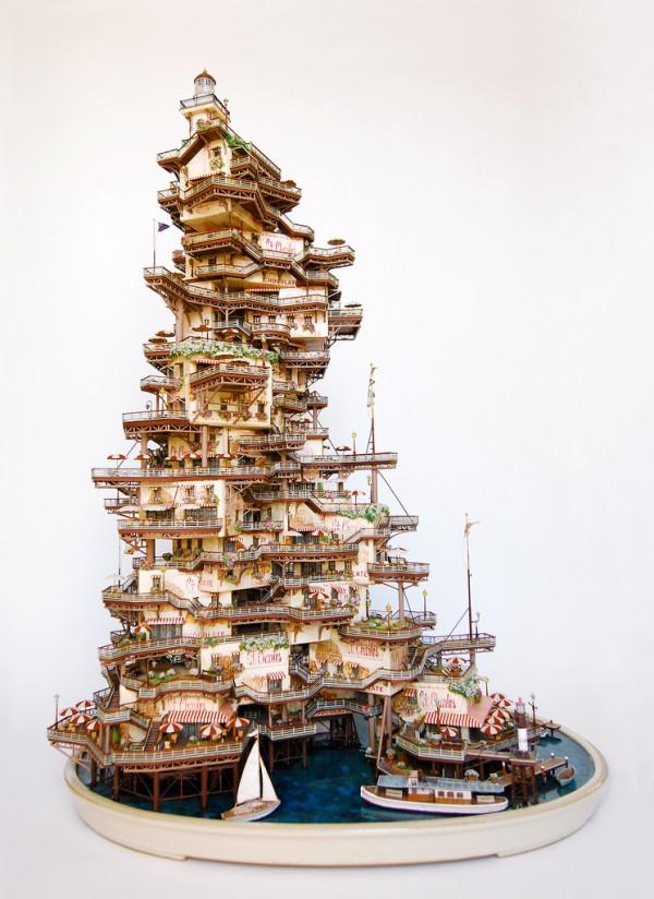 Крихітні декоративні будиночки на деревах бонсай від Таканорі Айба (3)