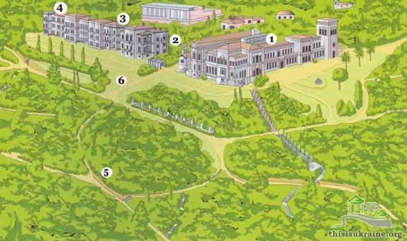 """Схема комплексу 1. Білий палац 2. Воздвижанська церква 3. Палац Фредерікса 4. Світський корпус 5. Парк 6. """"Сонячна стежка"""""""