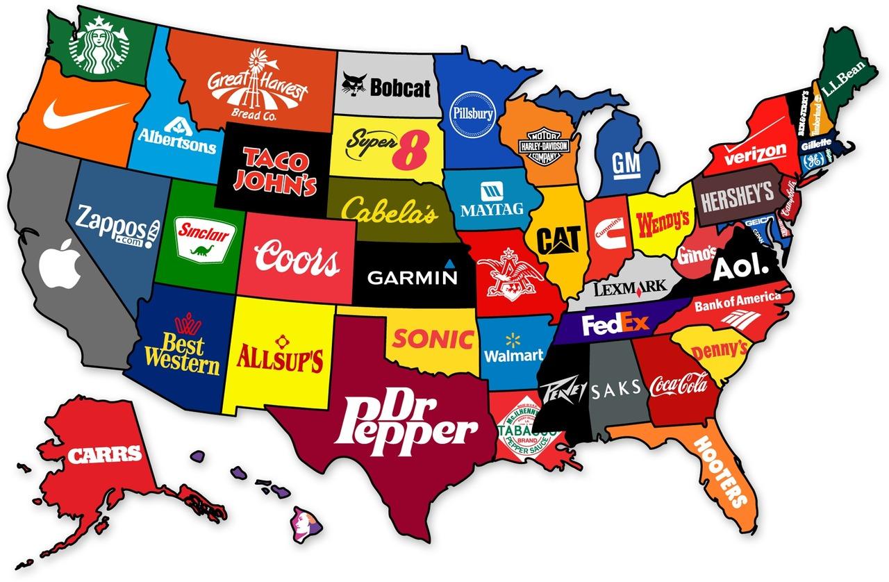 Карта відомих брендів по штатах США
