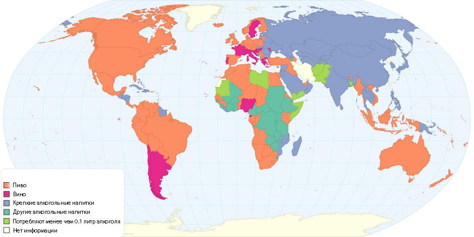 Карта популярності видів алкогольних напоїв