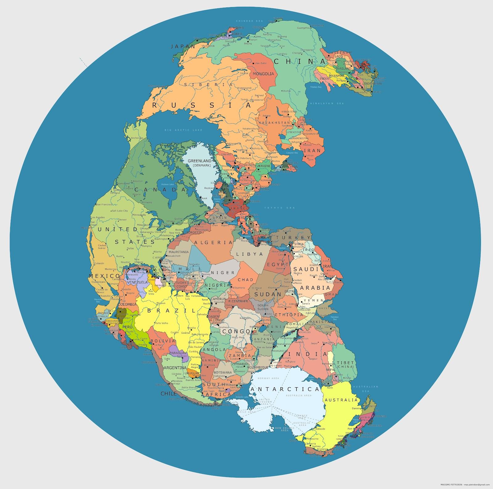 Сучасна політична карта світу на континенті Пангея
