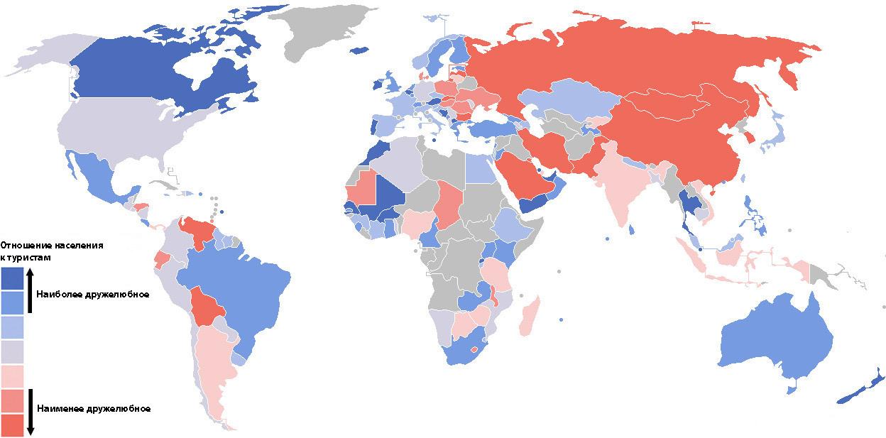 Карта ставлення населення країн до туристів