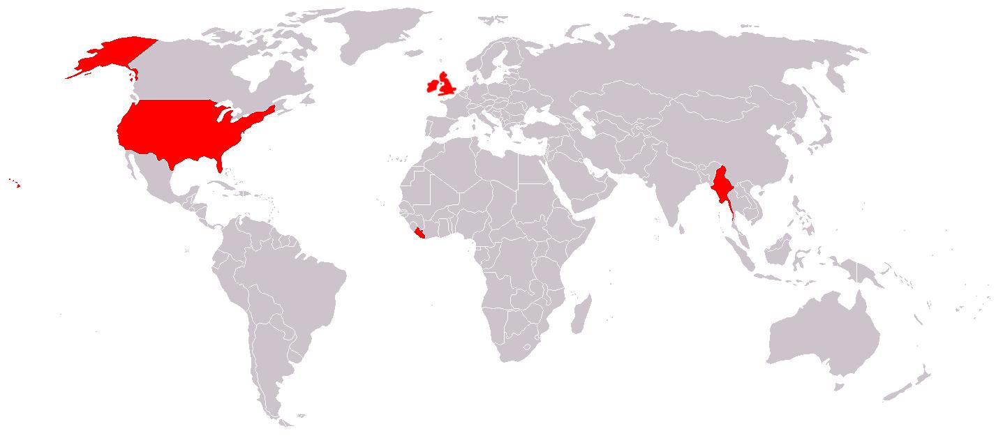 Карта використання традиційної метричної системи вимірювання