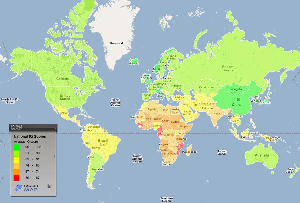 Карта рівня IQ