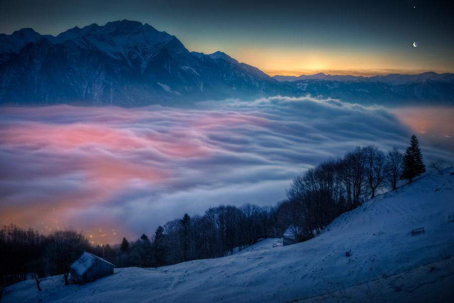 Місяць і Венера над Швейцарією. Фото: David Kaplan