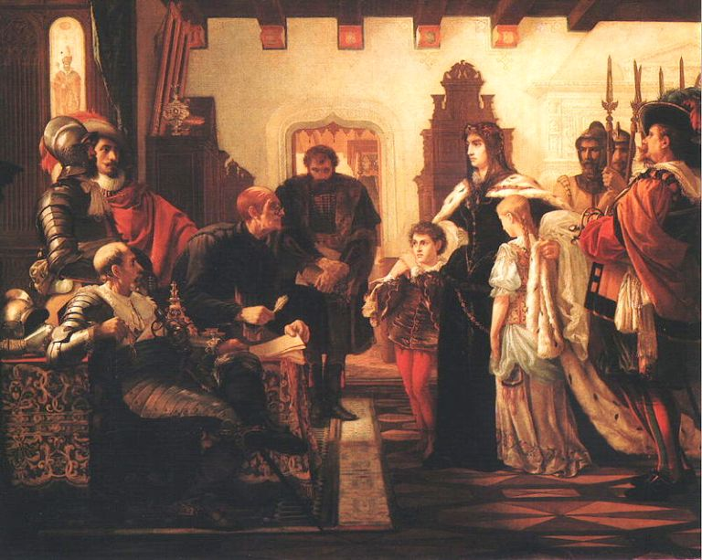 Ілона зріні з дітьми на роботі художника Madarász Viktor «Zrínyi Ilona vizsgálóbírái előtt» (1859)