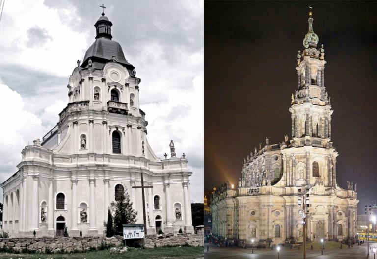 Костели у Микулинцях та Дрездені