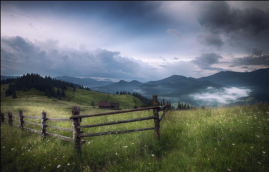 Mountains rural landscape before rain