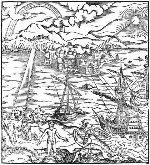 Архімед підпалює римські судна близько Сіракуз за допомогою параболічних дзеркал