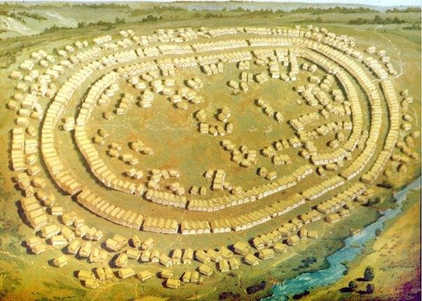 Панорама трипільського протоміста біля с. Майданецьке, 3600—3500 рр. до н.е. Площа 2 км. кв., близько 2 тисяч споруд, 6—10 тисяч мешканців