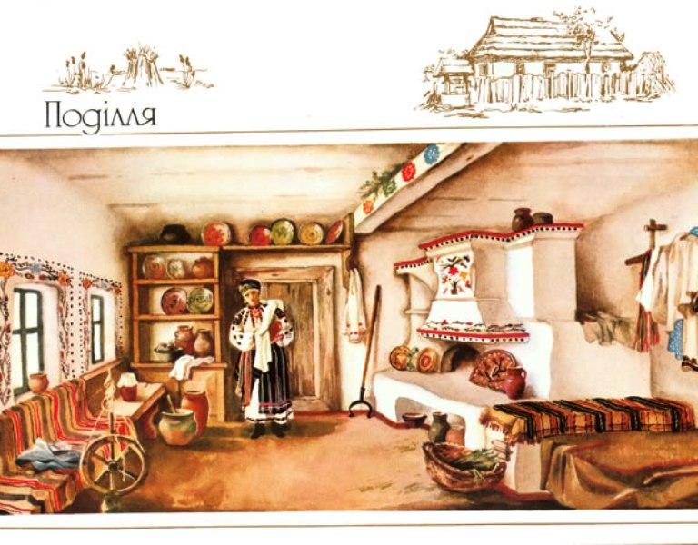 Інтер'єр житла, с. Сказинці колишнього Могилівського повіту Подільської губернії, тепер Могилів-Подільського району Вінницької області