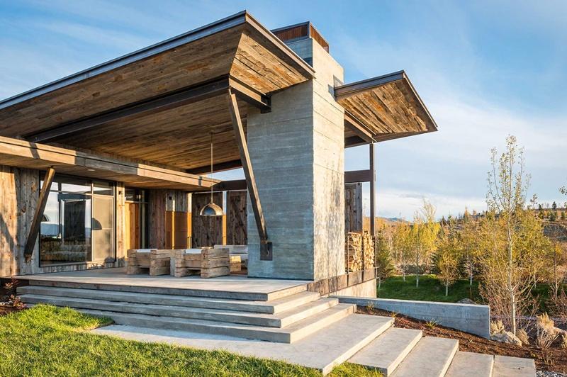 Крутий будинок у горах з каміном на свіжому повітрі в стилі еко (3)