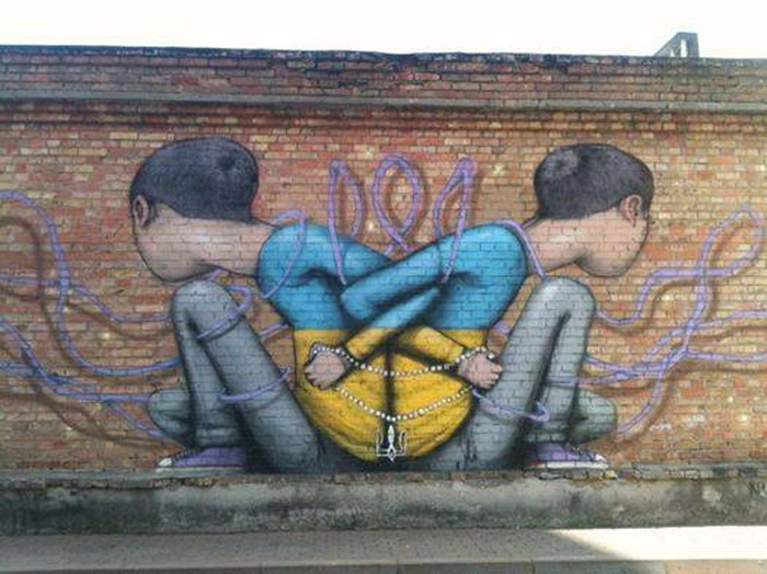 Автор графіті про ситуацію в Україні - француз Жюльєн Маллан (Seth)