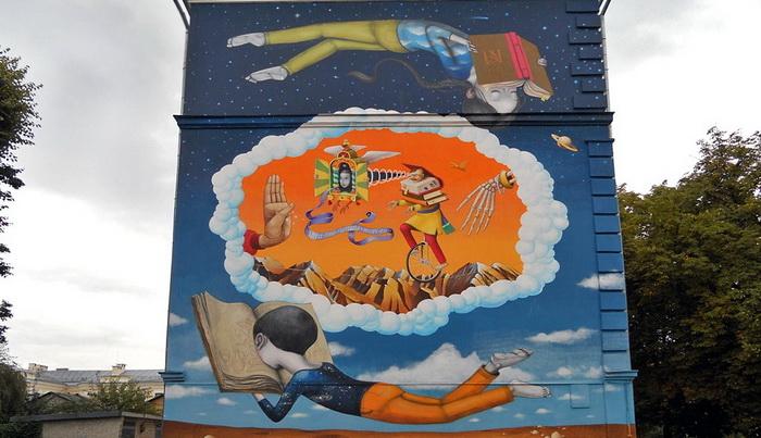 Автори графіті - француз Жюльєн Маллан (Seth) і українець Володимир Манжос (Waone) з дуету «Interesni Kazki»