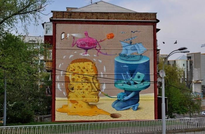 Графіті «Сновидіння». Автори - Володимир Манжос та Олексій Бордусов, дует «Interesni Kazki»