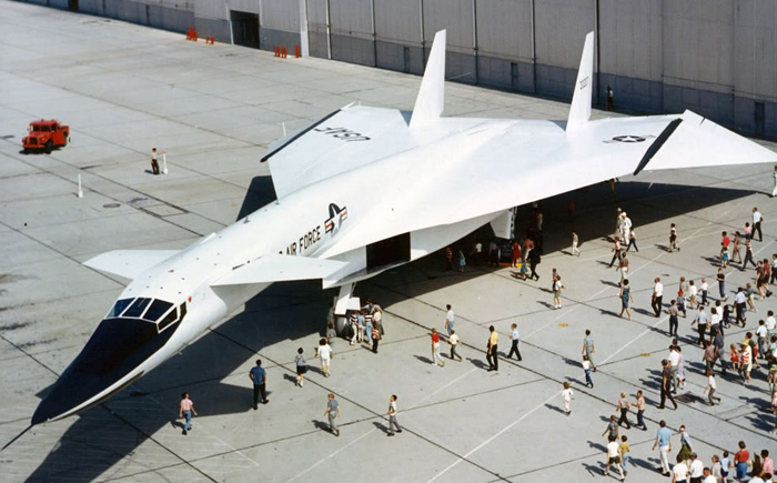 North American XB-70A Valkyrie 3/4 front view (top) at the rollout. (U.S. Air Force photo)