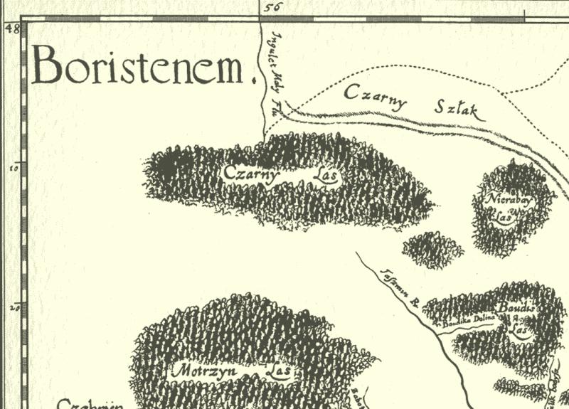 Чорний ліс на карті Боплана 1650 рік
