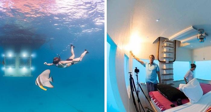 Manta Resort. Спальня розташована під водою.