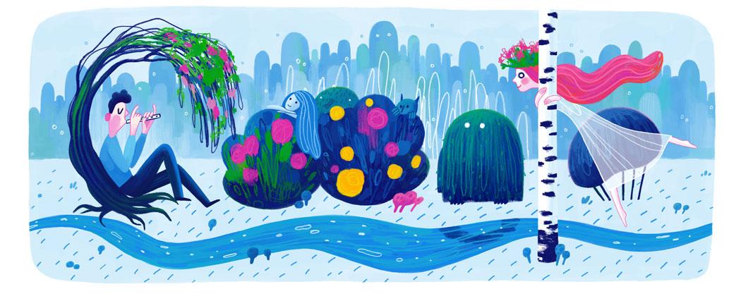 Святковий дудл від Google (145 років від дня народження Лесі Українки)