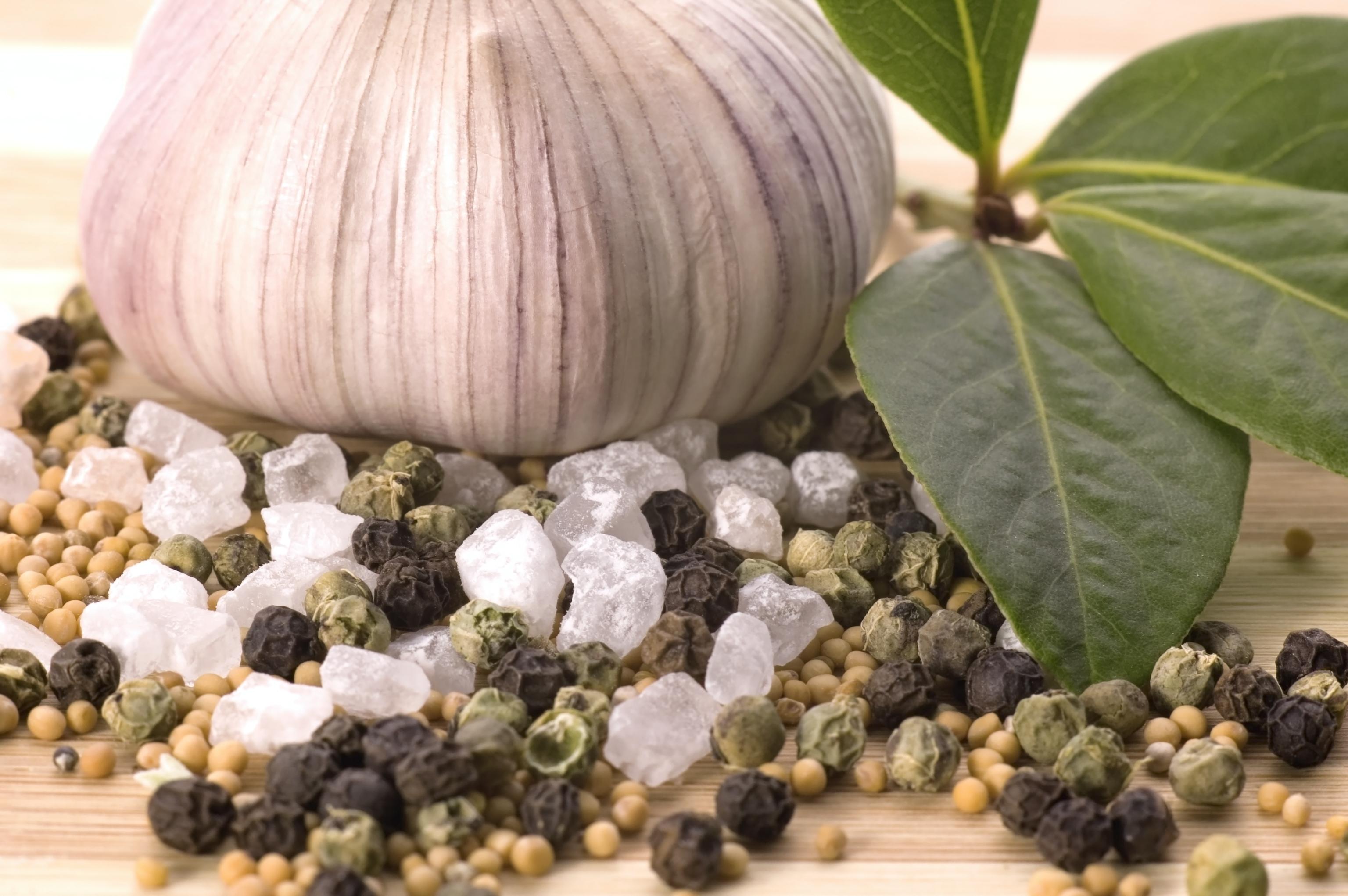 herbs and spices. garlic, rosematy, bay leaf, pepper, alt, nutmeg, vanilla, cardamon