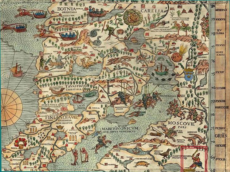 Північний схід Балтії, карта Олафа Магнуса