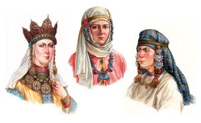 Знатна княгиня (перша зліва) в давньоруській вишивці