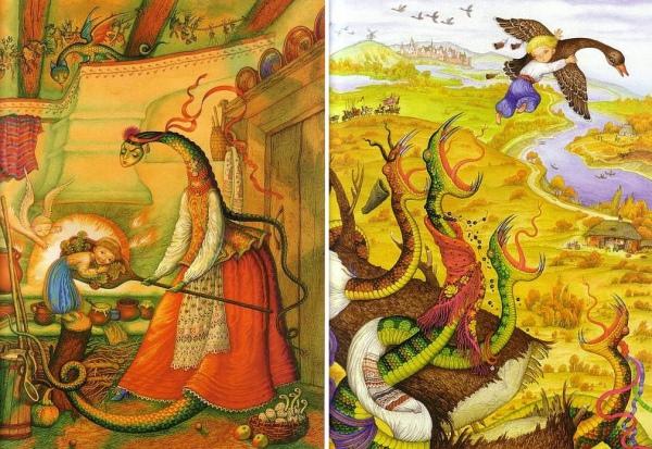 """Героїко-чарівні казки стали менш популярними за суспільно-побутові: змій став трансфортуватися у Мачуху. Ілюстрації Катерини Штанко до казки """"Івасик-телесик"""""""