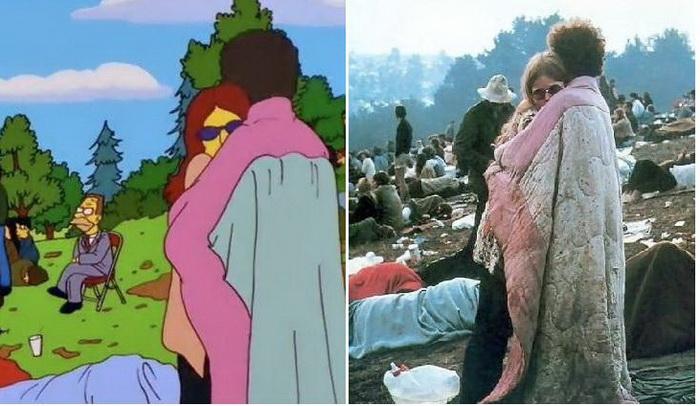 Вудсток: фотографія з фестивалю і кадр з мультфільму про Сімпсонів