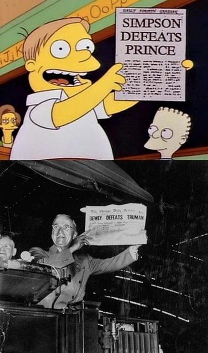 Газета Chicago Tribune з новиною про те, що Дьюї переміг Трумена, а Сімпсон - принца