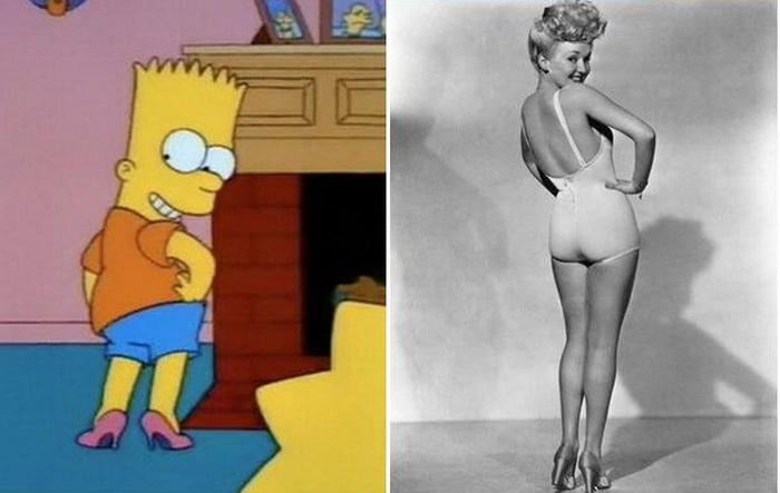 Барт Сімпсон в жартівливому образі пін-ап моделі