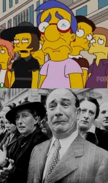 Пародія Сімпсонів на те, як французи зустрічають нацистських окупантів під час Другої світової війни