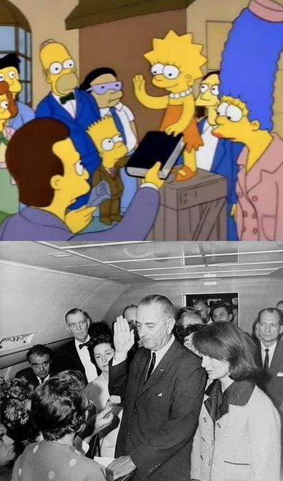 Дізнавшись про смерть Кеннеді, Джонсон дає присягу на вірність американському народу на борту літака