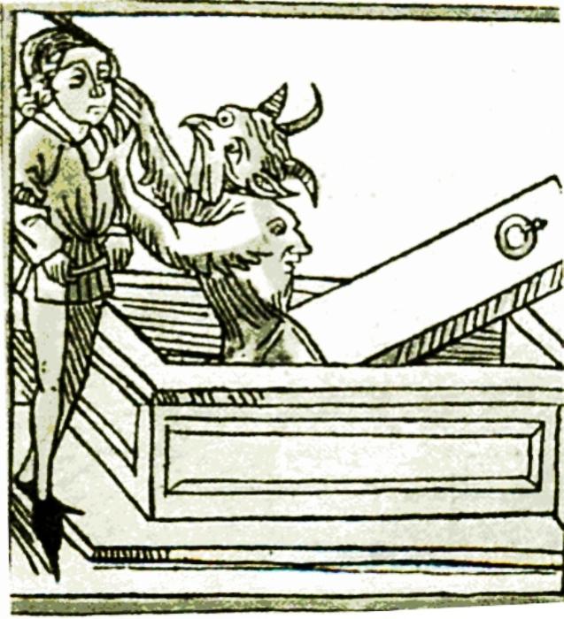 Вампір нападає на християнина. Німецька гравюра XV століття. | Фото: commons.wikimedia.org