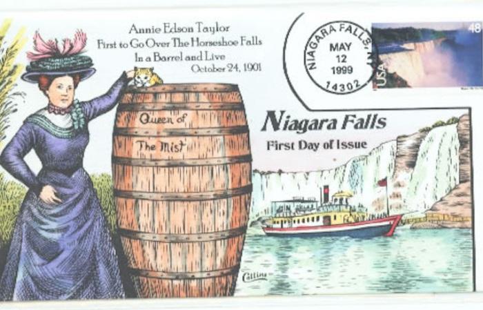 Листівка із зображенням події падіння Енні Едсон Тейлор з Ніагарського водоспаду в бочці. | Фото: seferia.com.