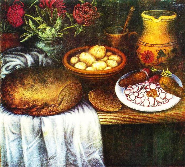 """Картина """"Сніданок"""", художниця К. Білокур"""