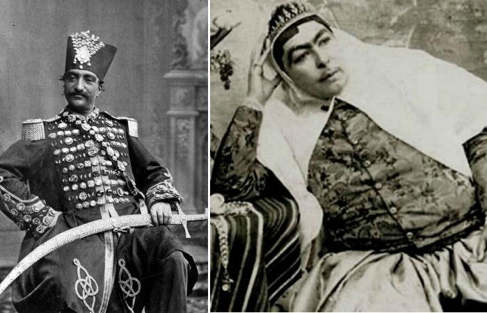 Насер ад-Дін Шах Каджар і його кохана дружина Аніс аль-Долех.