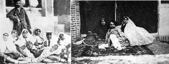 Насер ад-Дін Шах Каджар c деякими жінками з гарему.