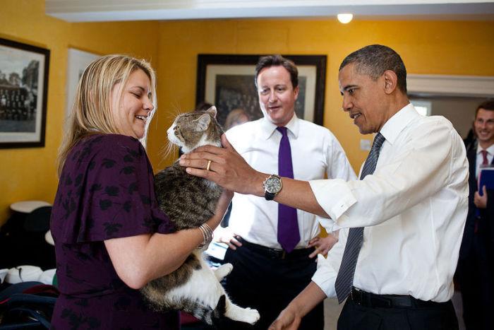 Ларрі зустрічає Барака Обаму. | Фото: en.wikipedia.org.