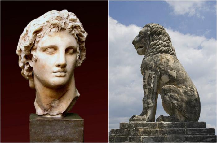Александр Македонський і лев з грецького міста Амфіполіс.