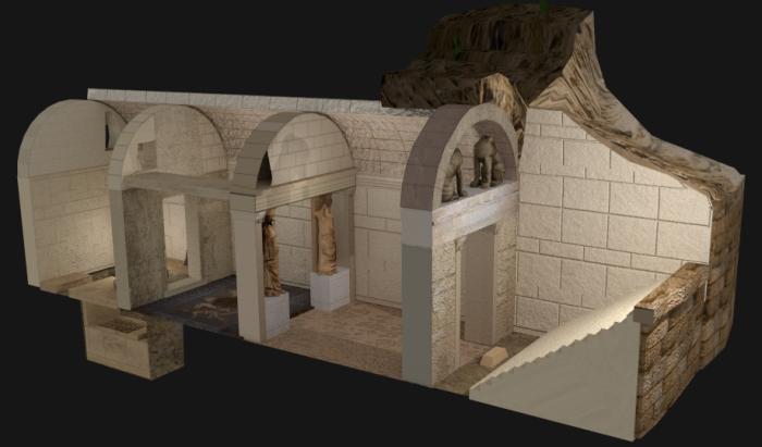 Тривимірна реконструкція гробниці в Амфіполіс. | Фото: en.wikipedia.org.