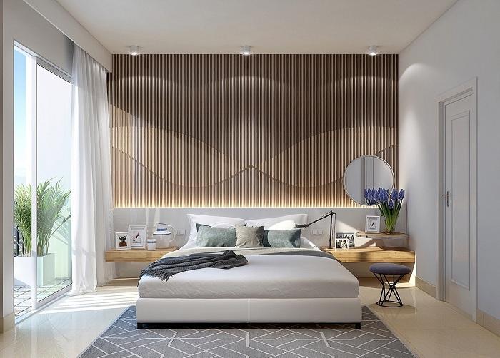 Оригінальне оформлення стіни в спальні.