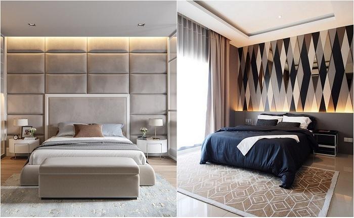 Приклади оформлення стін в спальній.
