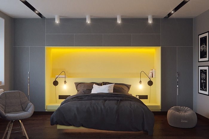 Оригінальний інтер'єр спальної з яскраво-жовтому кольорі, що сподобається однозначно.