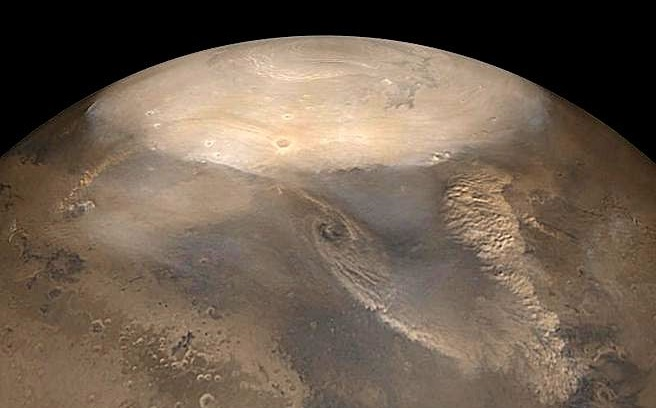 Полярні шапки на Марсі.