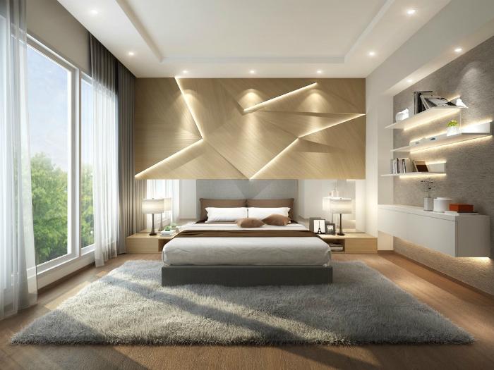 Спальня в сірих тонах з оригінальним освітленням.