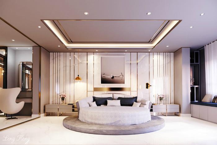 Біла спальня з круглим ліжком.