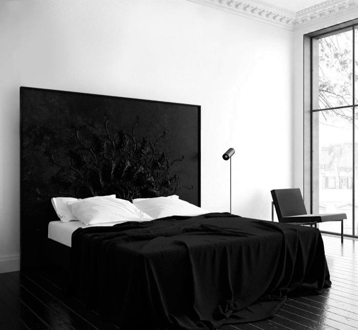 Контрастна чорно-біла спальня.